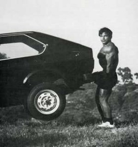 Franco Columbu Deadlifting Outdoors